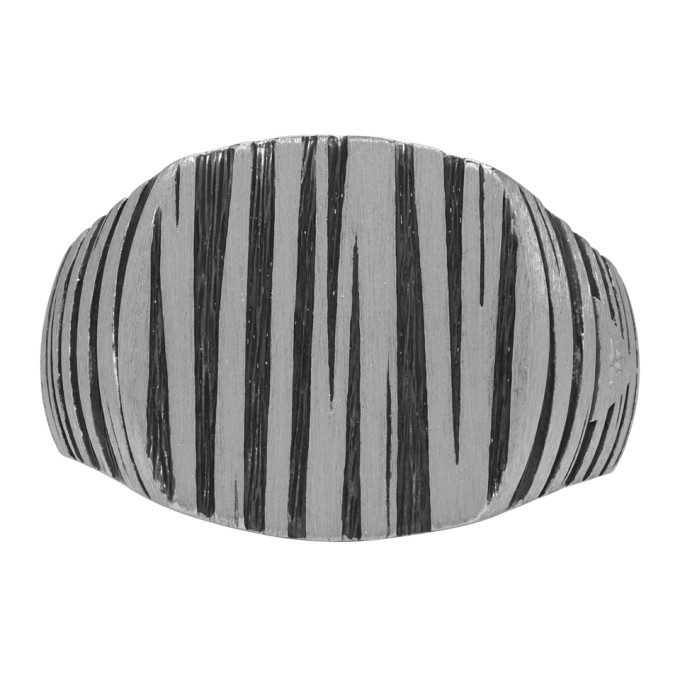 TOM WOOD SILVER AND BLACK CUSHION STRUCTURE RING