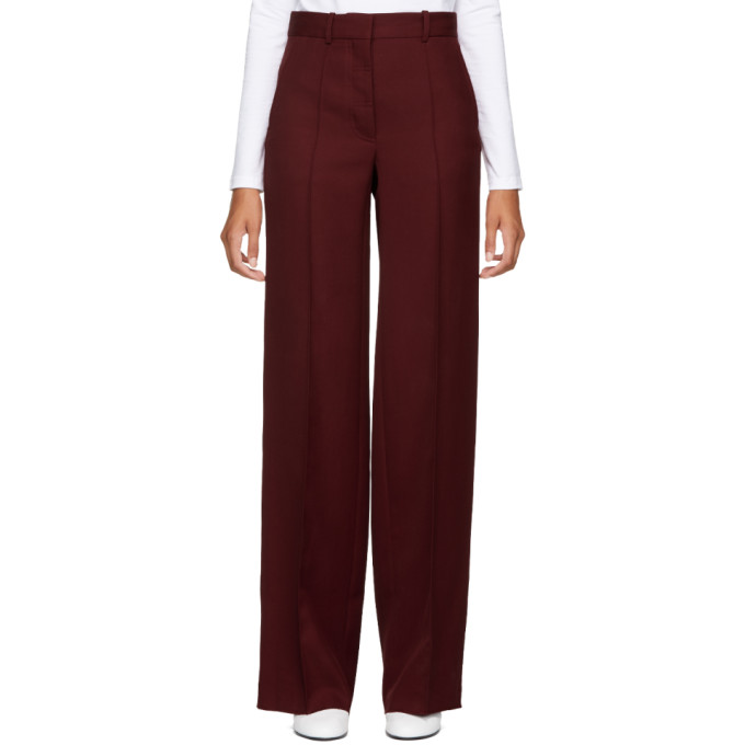 VICTORIA BECKHAM RED WOOL WIDE-LEG TROUSERS