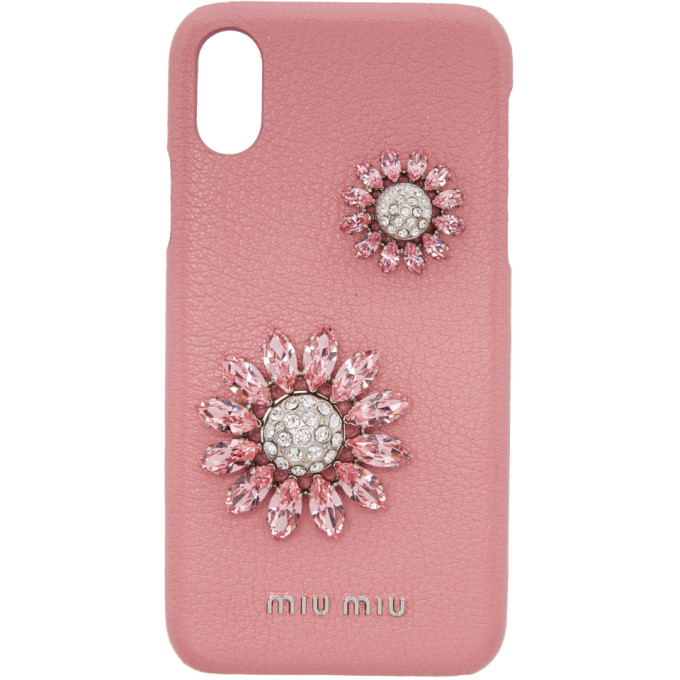 MIU MIU PINK MADRAS FLOWER IPHONE X CASE