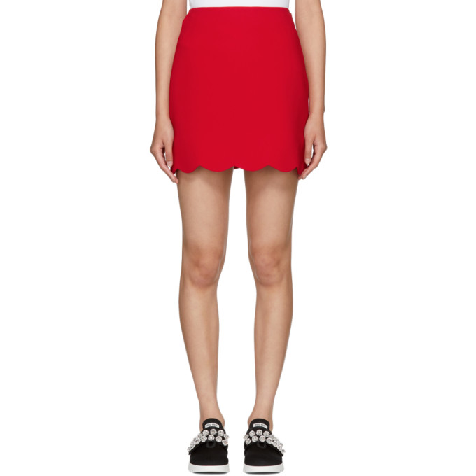 Red Cady Scalloped Hem Miniskirt by Miu Miu