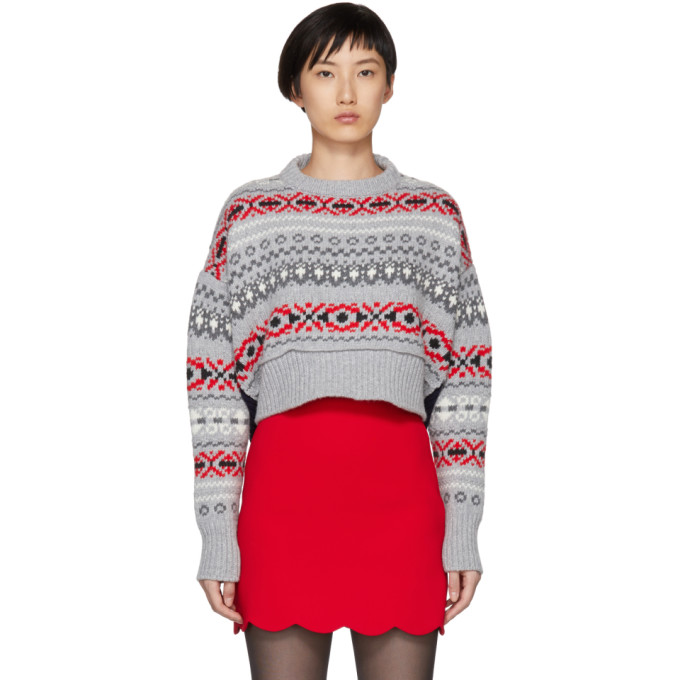 Grey Wool Patterned Sweater by Miu Miu