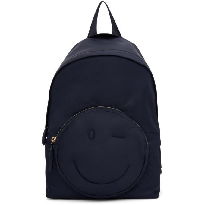 Anya Hindmarch Navy Chubby Wink Backpack, 455 Marine