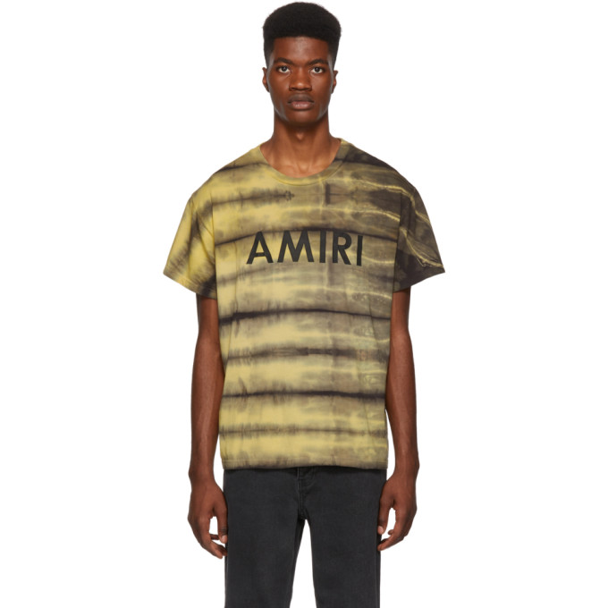 AMIRI Logo-Print Cotton-Jersey T-Shirt in Yellow