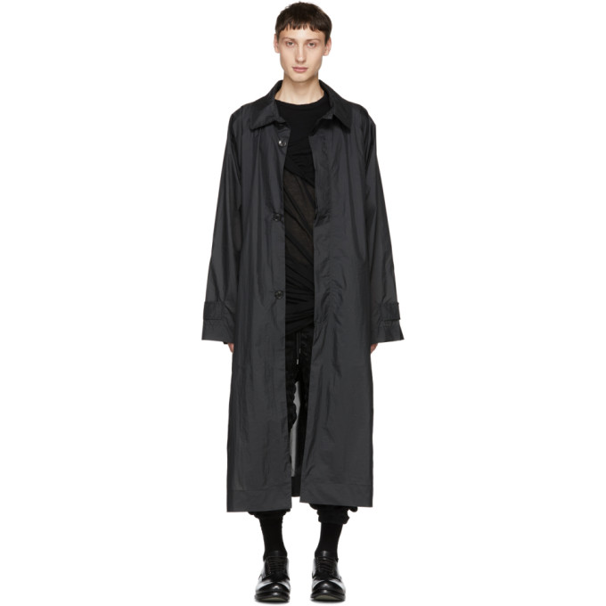 HED MAYNER BLACK NYLON TRENCH COAT