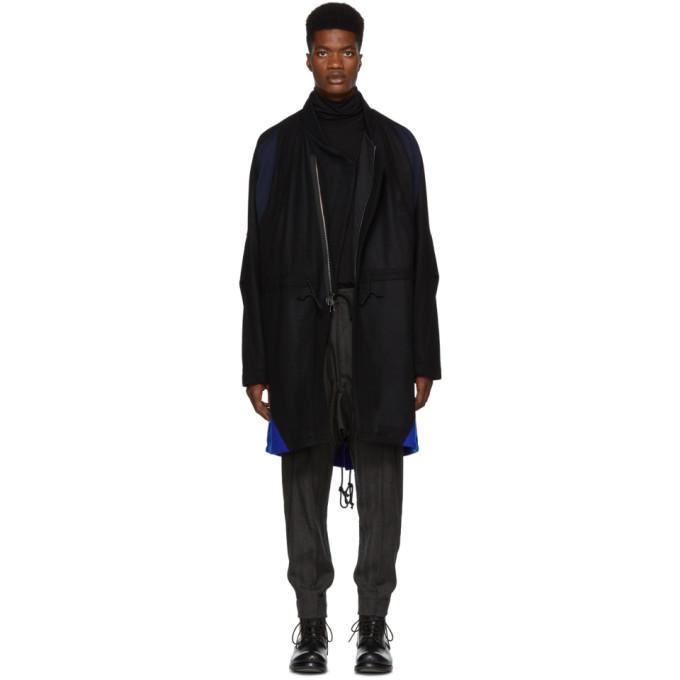 ABASI ROSBOROUGH BLACK AND BLUE ARC COAT