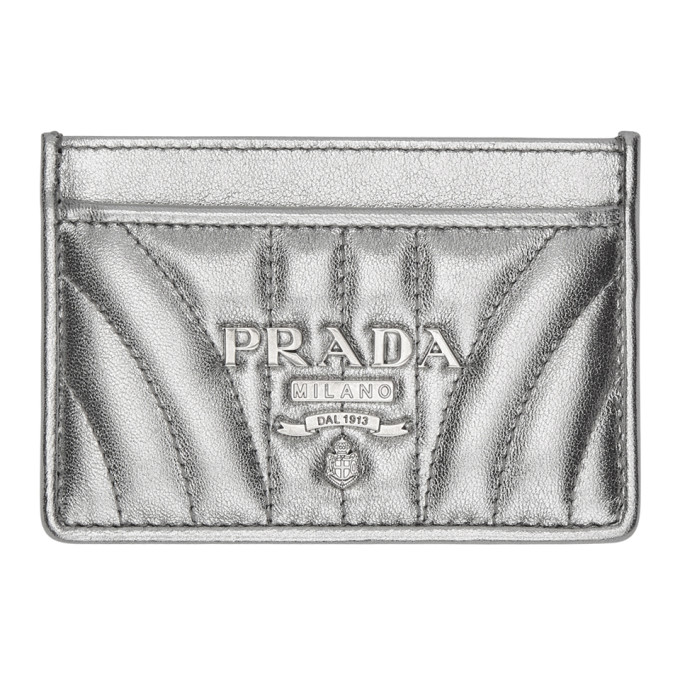 Silver Quilted Logo Card Holder by Prada