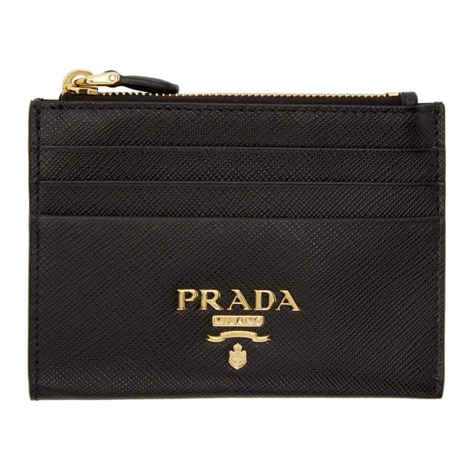 Black Saffiano Top Zipped Multi Card Holder by Prada