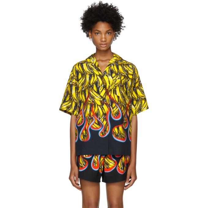 PRADA Banana Flame Collared Short-Sleeve Shirt in Yellow