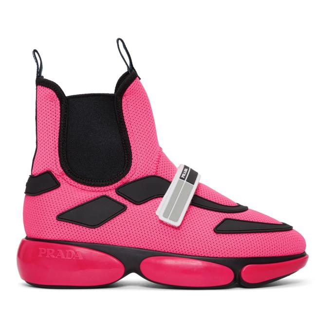 Pink Cloudbust High Top Sneakers by Prada