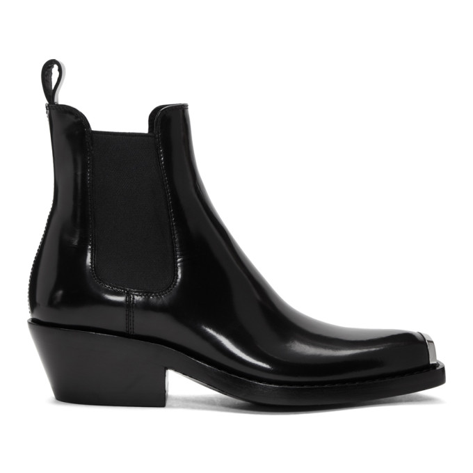 Claire Glossed-Leather Ankle Boots, Black
