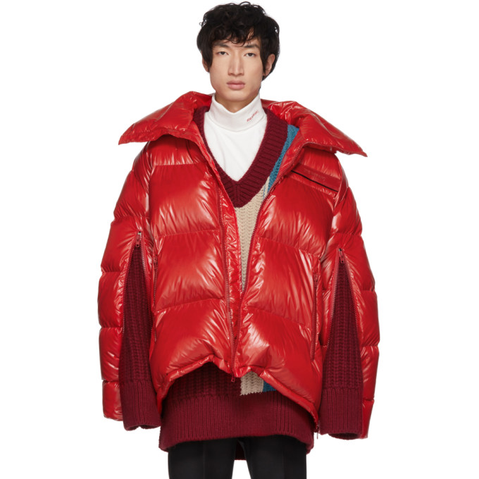 Red Down Oversized Jacket by Calvin Klein 205 W39 Nyc