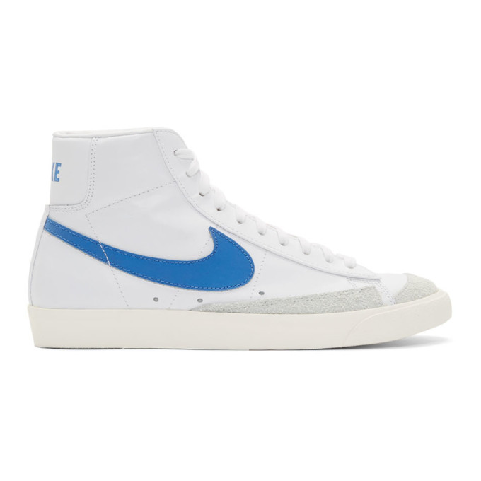 White & Blue Blazer Mid '77 Vintage Sneakers by Nike