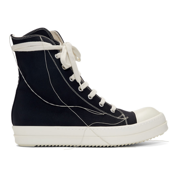Black 2 Tone Stitch High Top Sneakers by Rick Owens Drkshdw