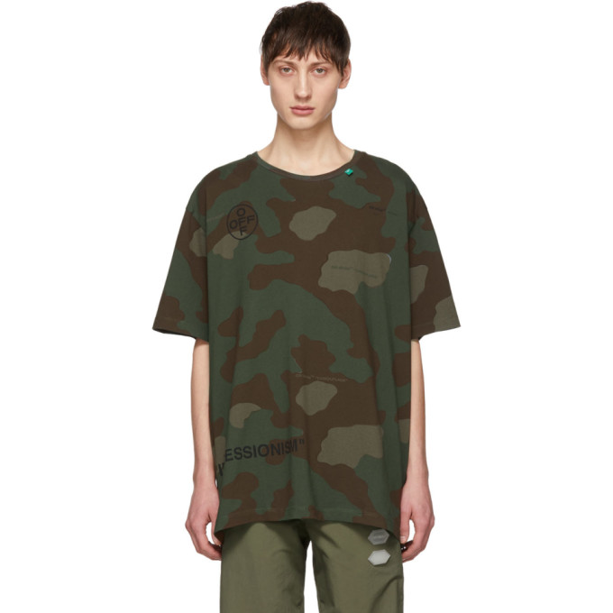 Green & Brown Camo Stencil T Shirt by Off White