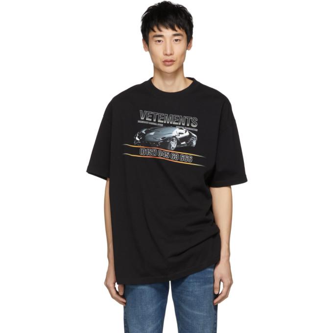 T Shirt Noir Car Hotline by Vetements