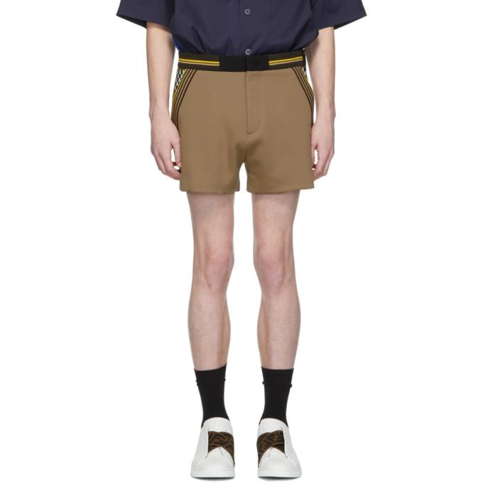 Beige Jersey Shorts by Fendi