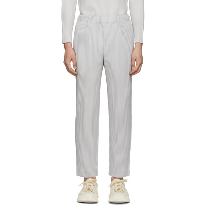 Grey Light Tailored Pleats Trousers by Homme PlissÉ Issey Miyake