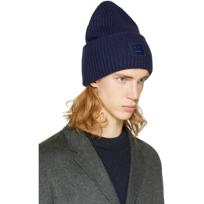 d54ad380418b ACNE STUDIOS Pansy Face Wool-Blend Beanie Hat in Navy .