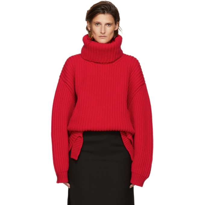 Balenciaga Long Sleeved Turtleneck Sweater In Rouge