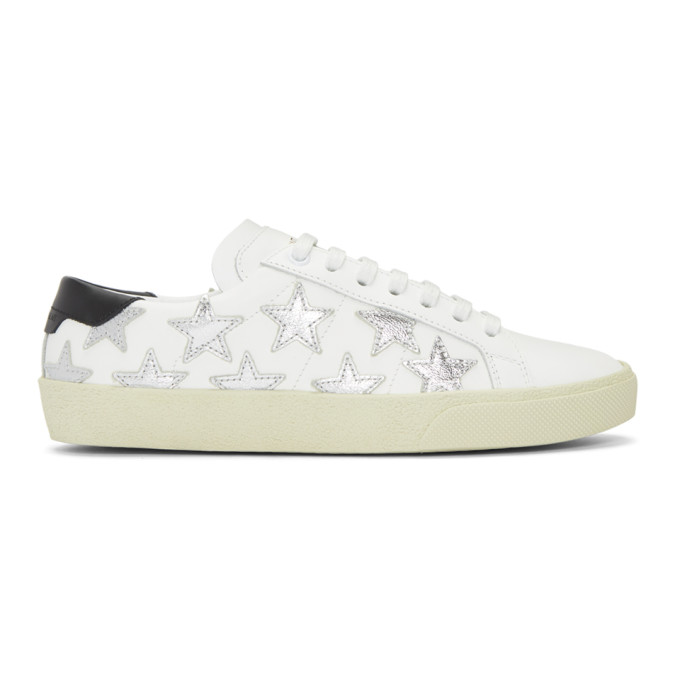 COURT CLASSIC APPLIQUÉD METALLIC-TRIMMED LEATHER SNEAKERS