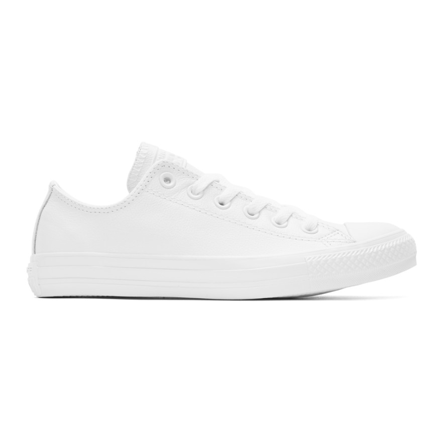 White Leather Chuck Taylor All Star Sneakers by Converse