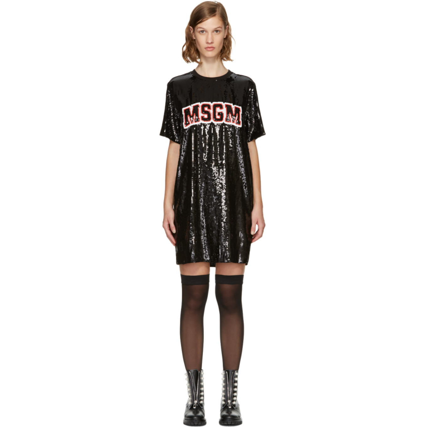 Black Sequinned Logo Dress by Msgm