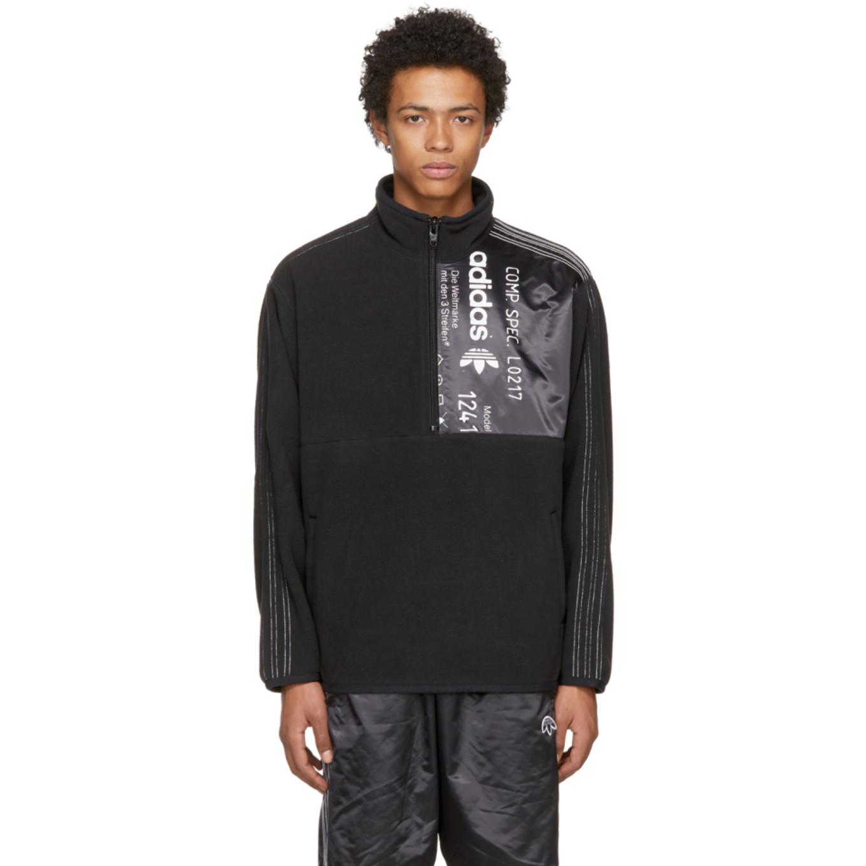 Black Polar Half Zip Pullover by Adidas Originals By Alexander Wang