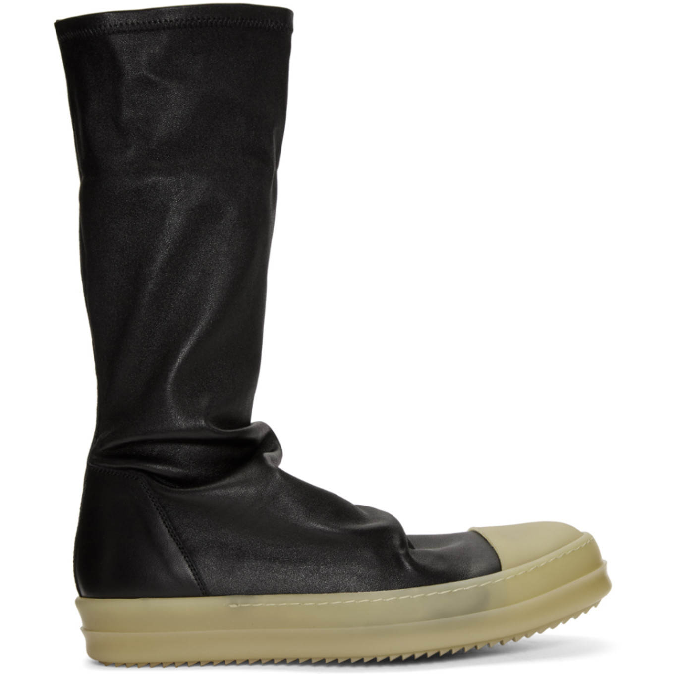 Black Rubber Sock High Top Sneakers by Rick Owens
