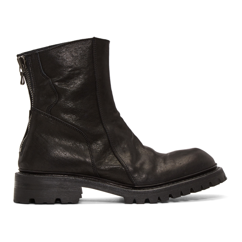 Black Slashing Engineer Boots by Julius
