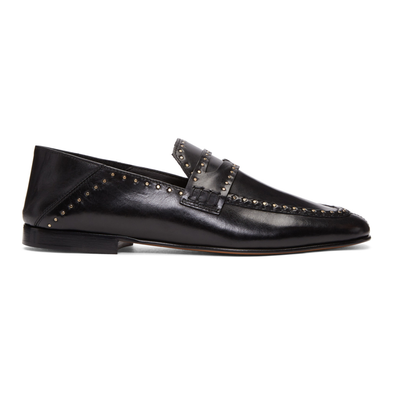 Black Vegetal Studded Loafers Isabel Marant