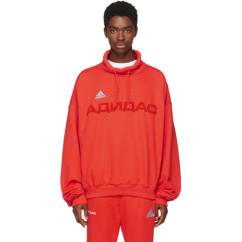 Red Adidas Originals Edition Funnel Neck Sweatshirt by Gosha Rubchinskiy