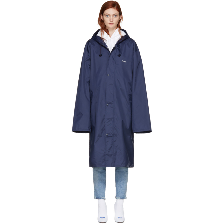 Navy 'aries' Horoscope Raincoat by Vetements