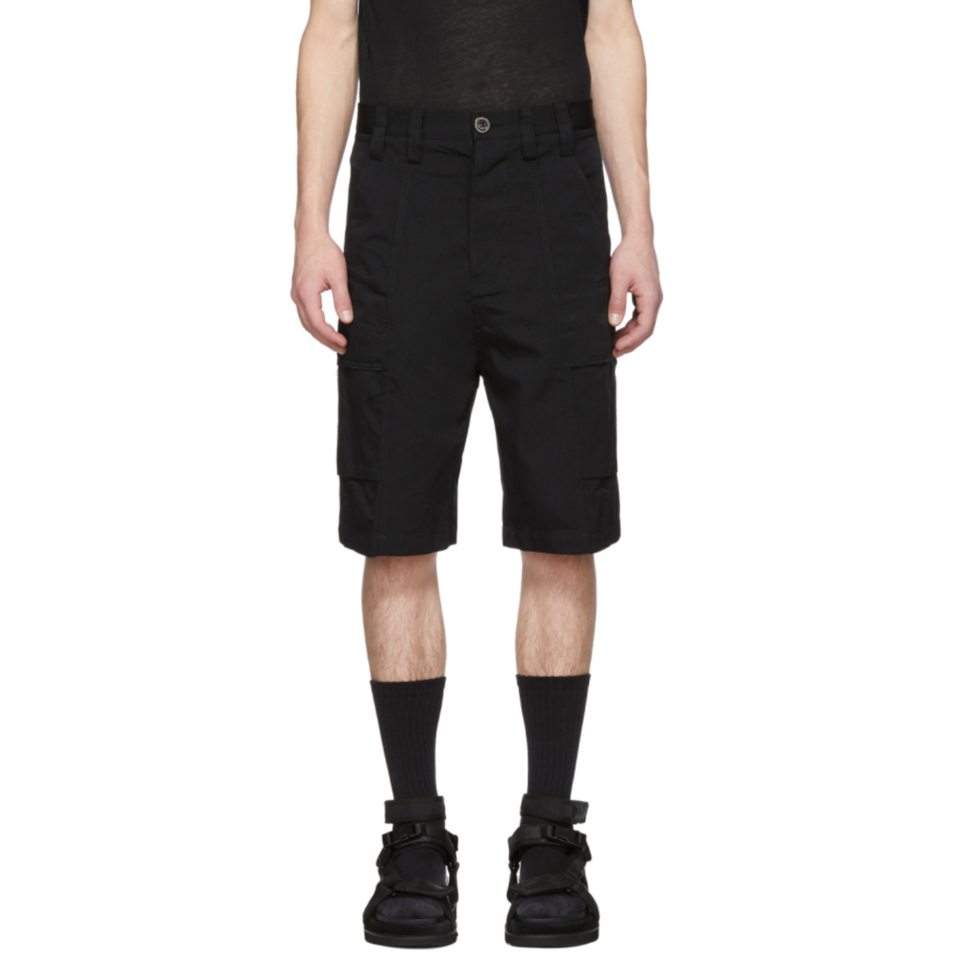 Black Bucket Cargo Shorts by Song For The Mute