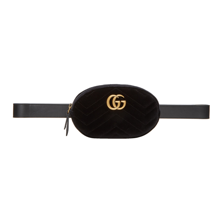20d2078cec84c7 Shoptagr | Black Velvet Gg Marmont 2.0 Belt Bag by Gucci