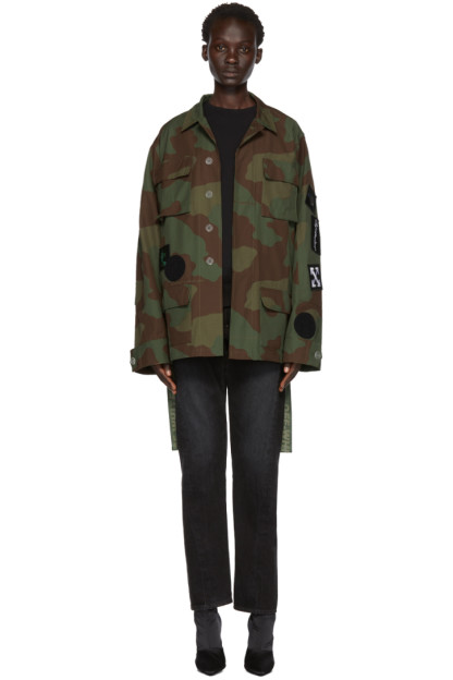 Off-White - Green Camo Patches Field Jacket