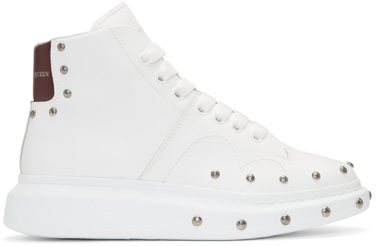 Alexander McQueen White Studded High-Top Sneakers