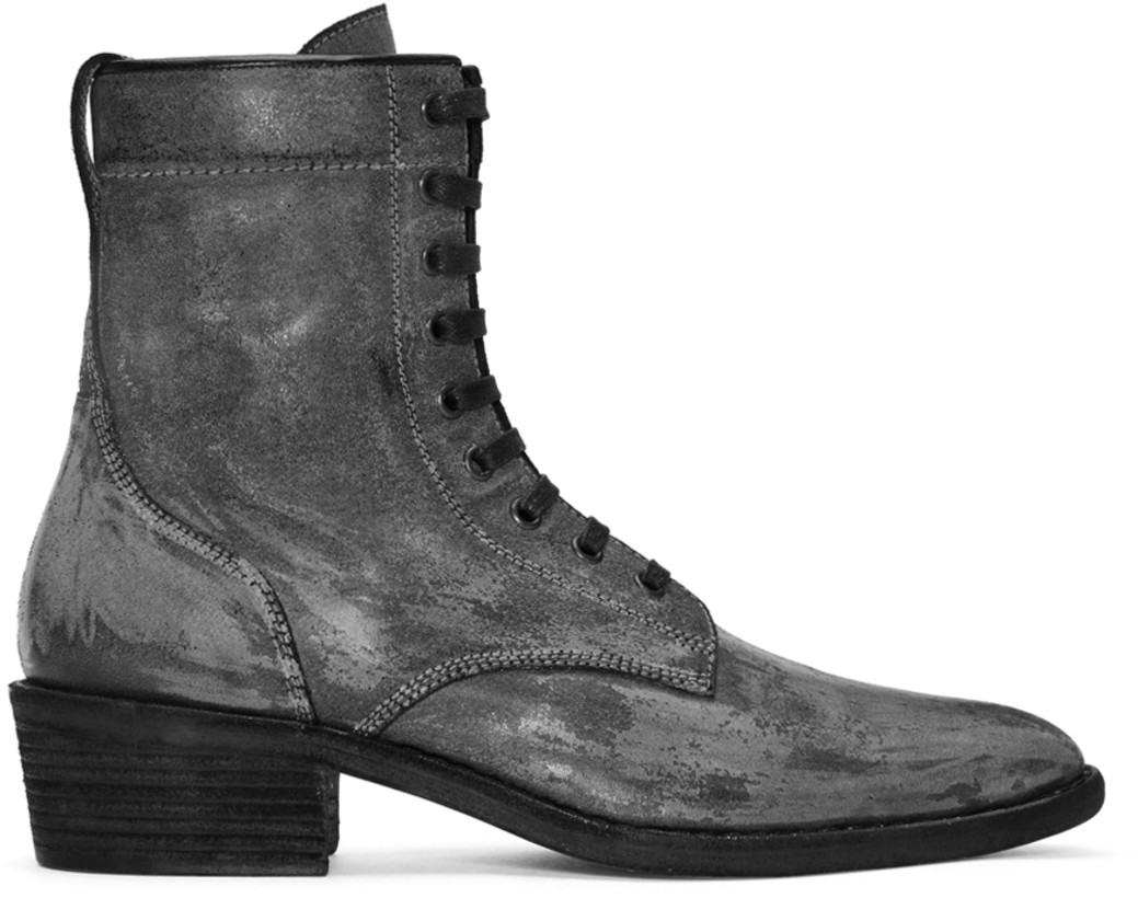 Haider Ackermann Black Distressed Rodeo Lace-Up Boots