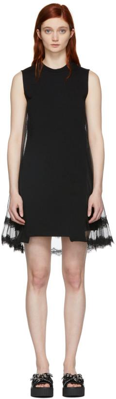 McQ Alexander McQueen Black Hybrid Goth Mini Dress