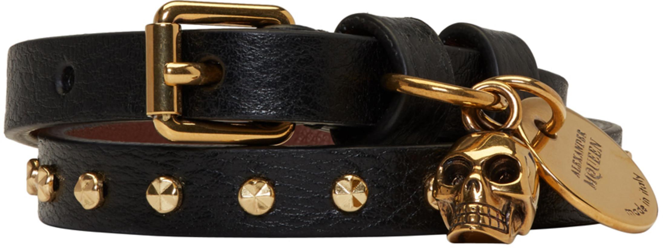 Alexander McQueen Black & Gold Studded Skull Double Wrap Bracelet