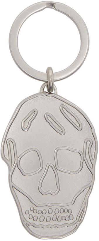 Alexander McQueen Silver Skull Keychain