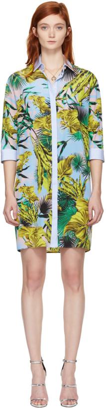 Versace Multicolor Palms Shirt Dress