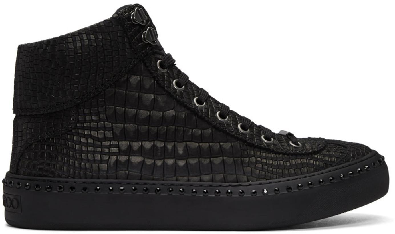 Jimmy Choo Black Croc Crystal Argyle High-Top Sneakers