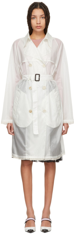 Prada White Nylon Voile Double-Breasted Trench Coat