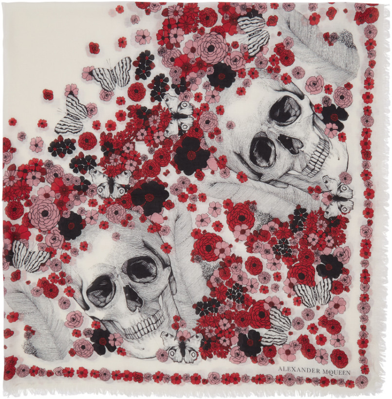 Alexander McQueen Ivory & Red Muse Skull Scarf