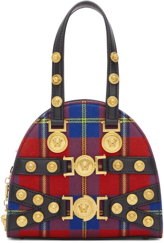 Versace Red Tartan Small Tribute Bag