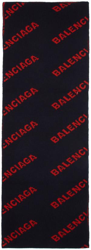 Balenciaga Navy & Red Allover Logo Scarf