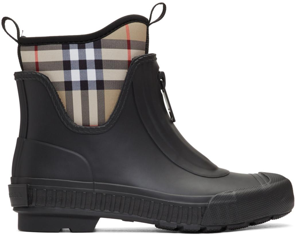 Burberry Black & Beige Flinton Short Rain Boots