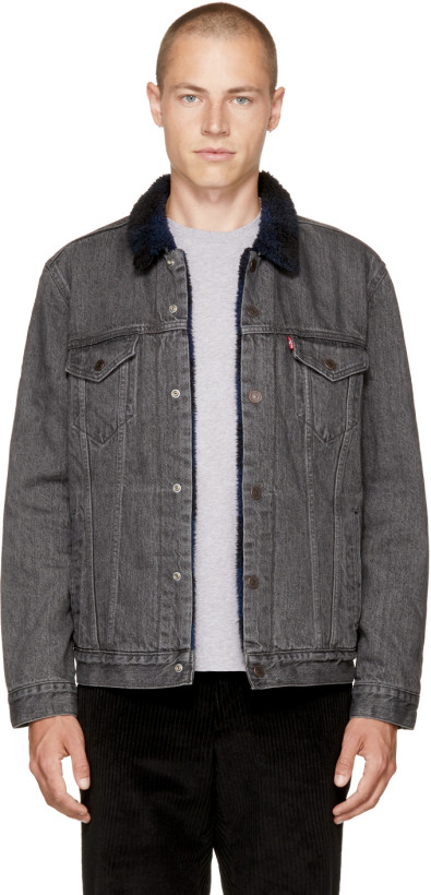 Levi's Black Denim Type 3 Sherpa Trucker Jacket