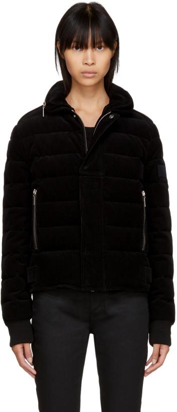 Saint Laurent Black Down Corduroy Jacket