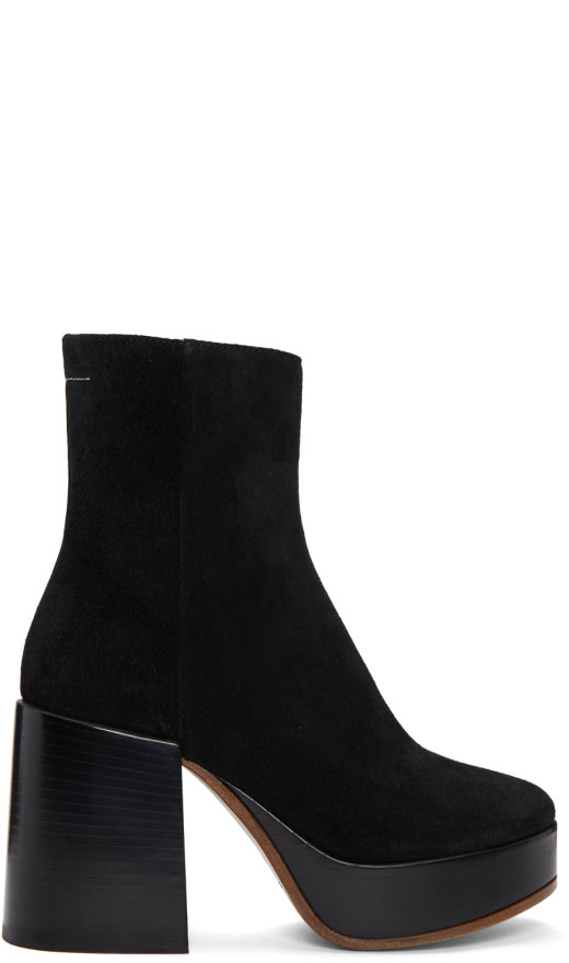 MM6 Maison Martin Margiela - Black Thick Heel Boots